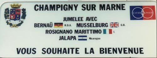 Sign: Welcome to Champigny